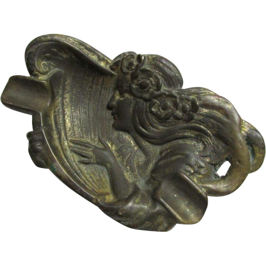 Art Nouveau Bronze Cigar Tray, Advertising Premium