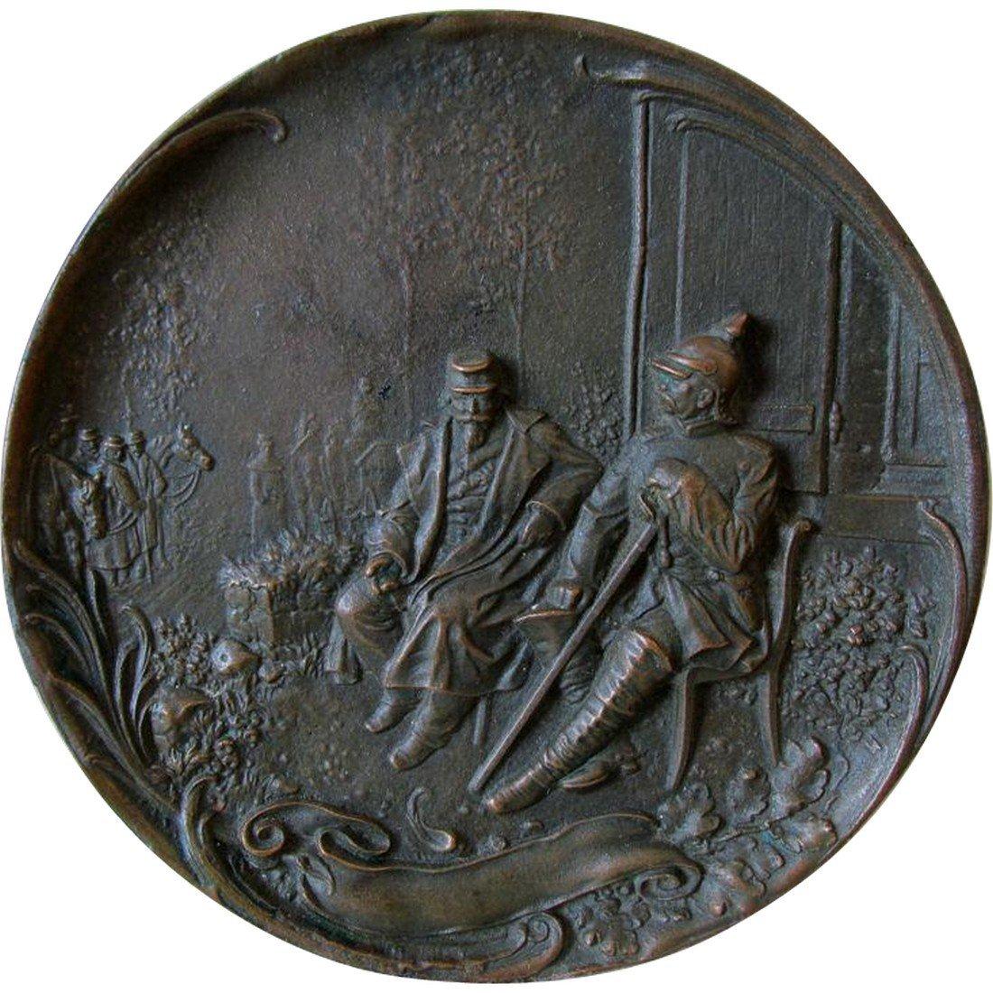 Bronze Plaque Napoleon III Chancellor Otto Von Bismarck