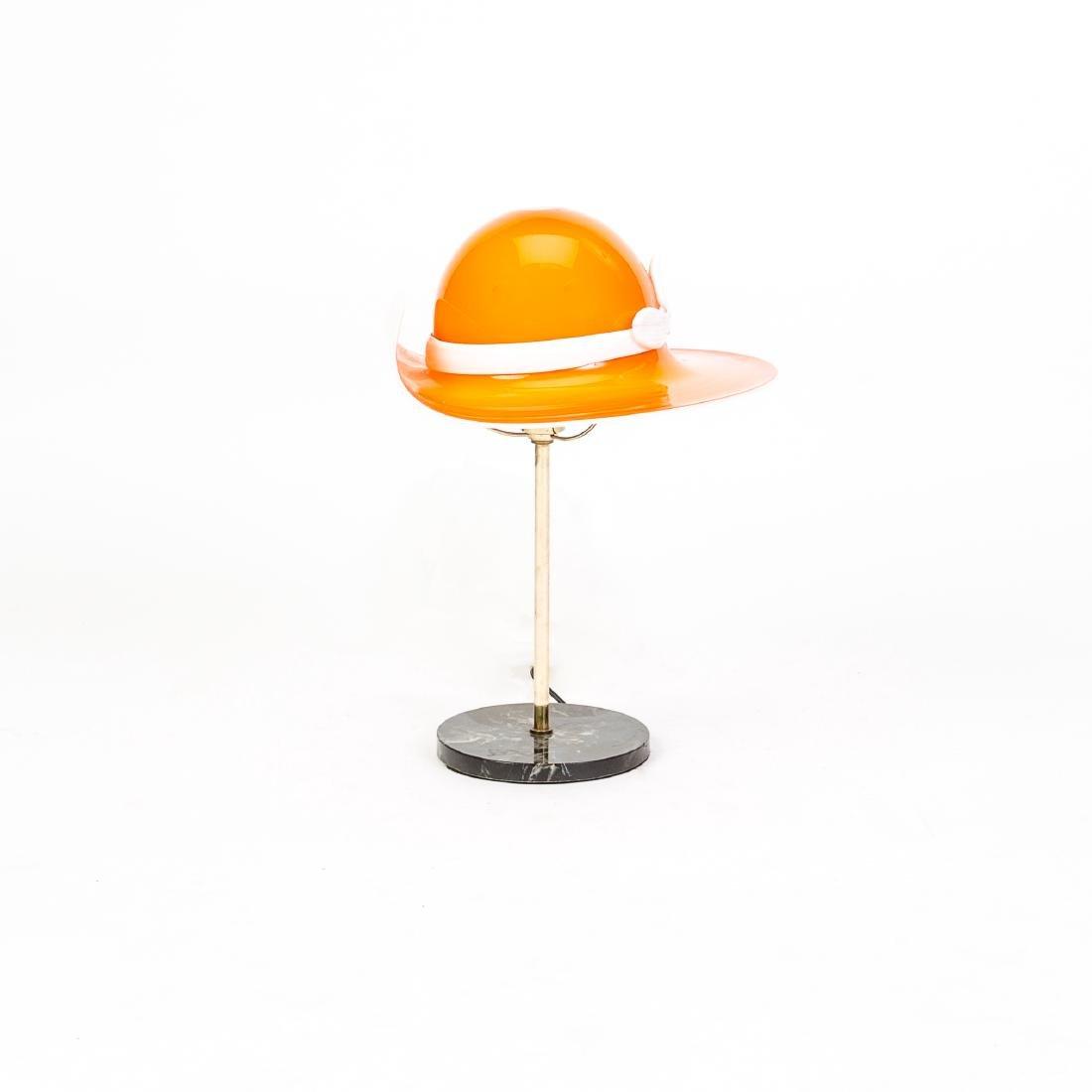 Mid-Century Orange Murano Glass Hat Lamp