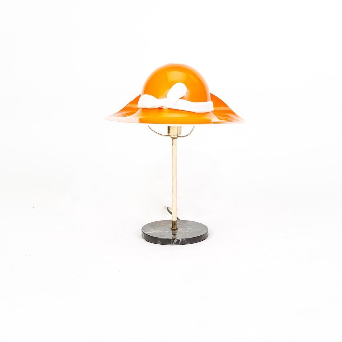 Mid-Century Orange Murano Glass Hat Lamp - 2
