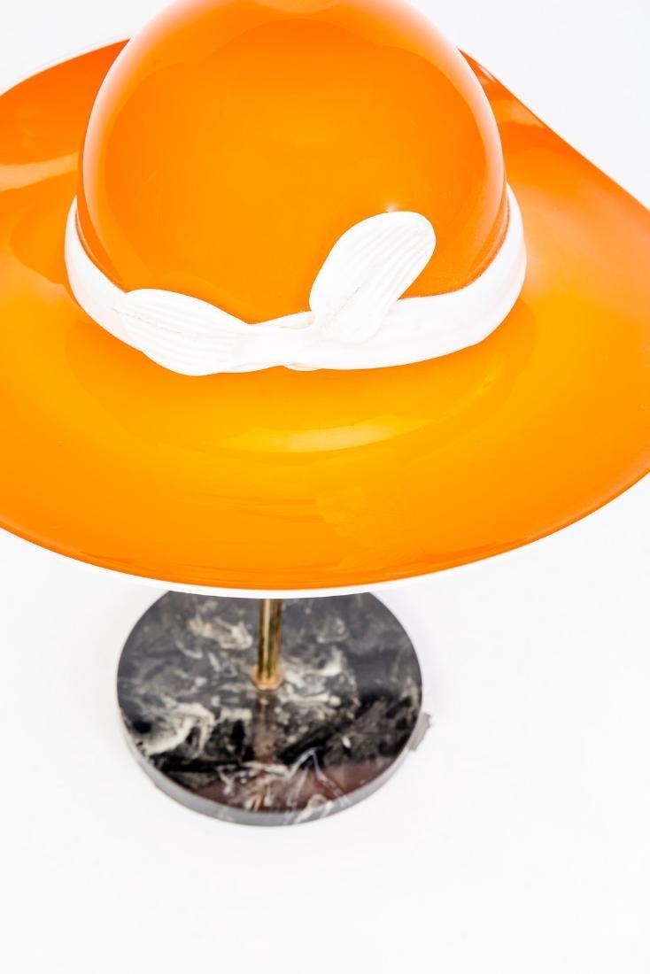 Mid-Century Orange Murano Glass Hat Lamp - 4