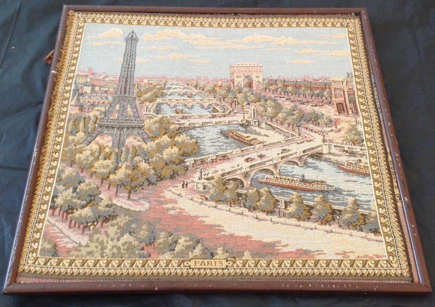 Vintage Framed Map of Paris Tapestry