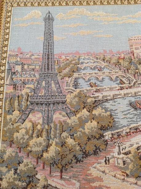 Vintage Framed Map of Paris Tapestry - 2