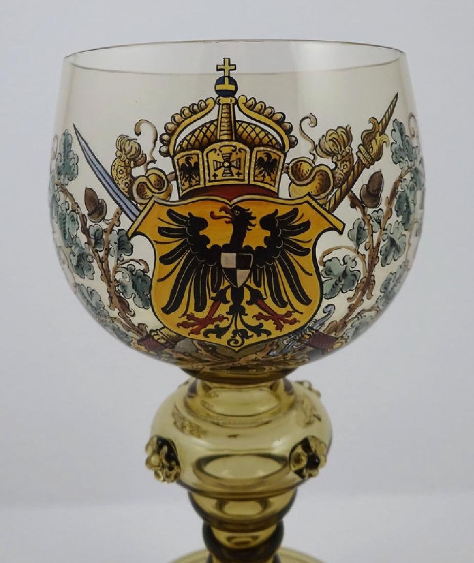 Antique Bohemian Enameled Wine Goblet with Coat of Arms - 2