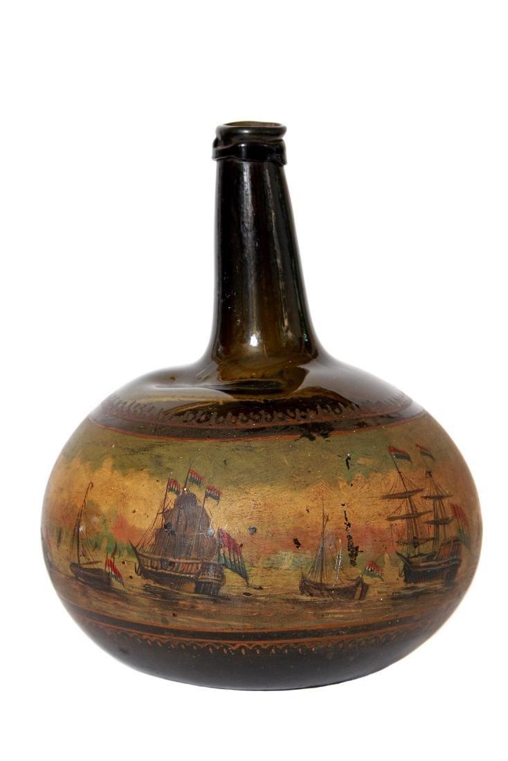 Antique English Painted Onion Wine Bottle