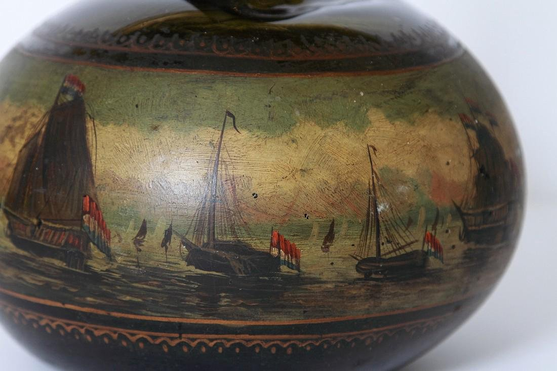 Antique English Painted Onion Wine Bottle - 3
