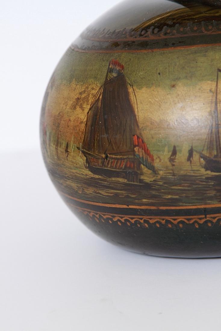 Antique English Painted Onion Wine Bottle - 4
