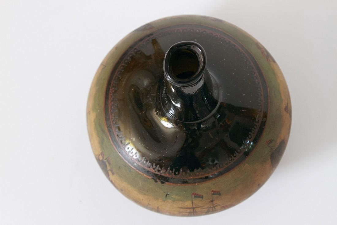 Antique English Painted Onion Wine Bottle - 5