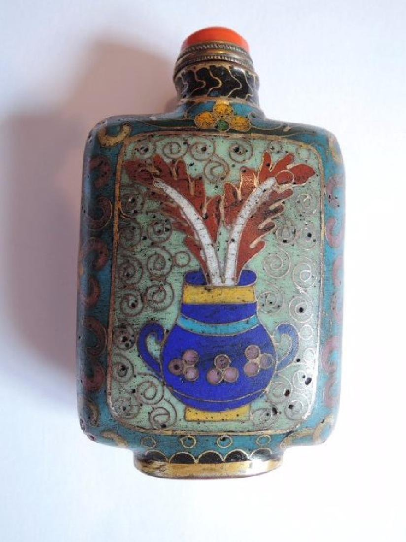 Chinese Cloisonné Snuff Bottle with Coral Stopper