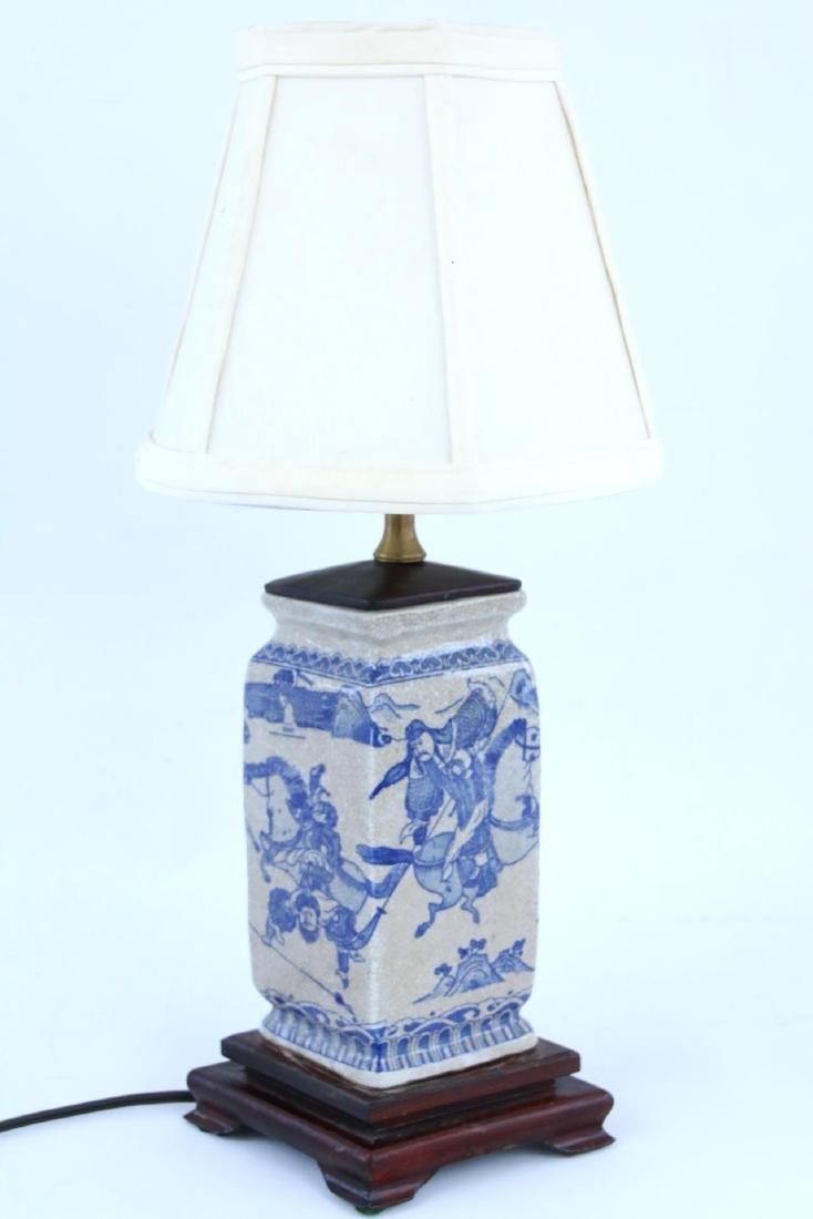 Chinese Diamond Shaped Warrior Lamp
