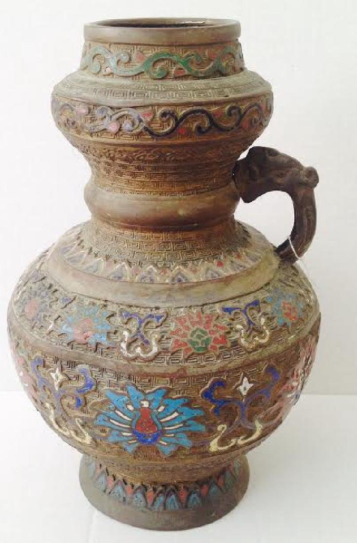Antique Chinese Weighty Enamel Cloisonné Brass Vase