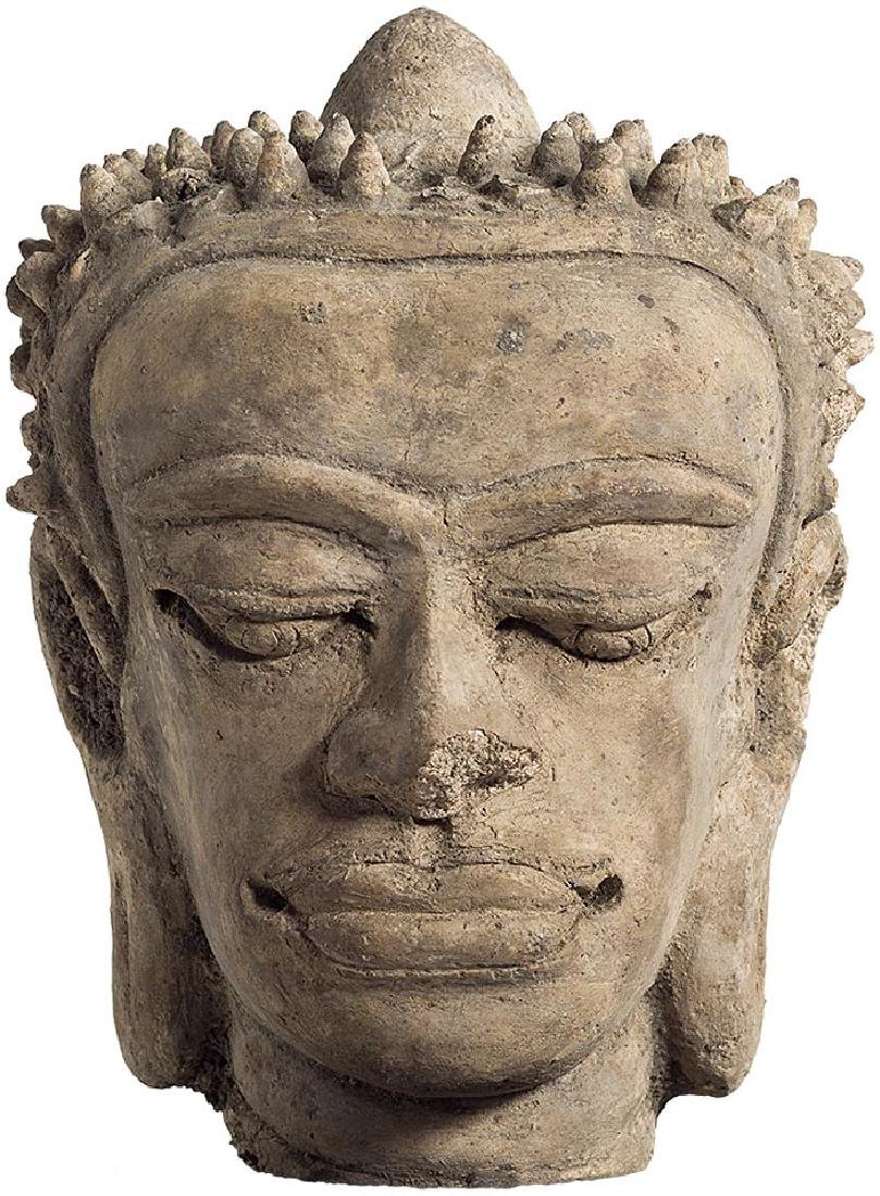 Thai Haripunchai Stucco Buddha Head