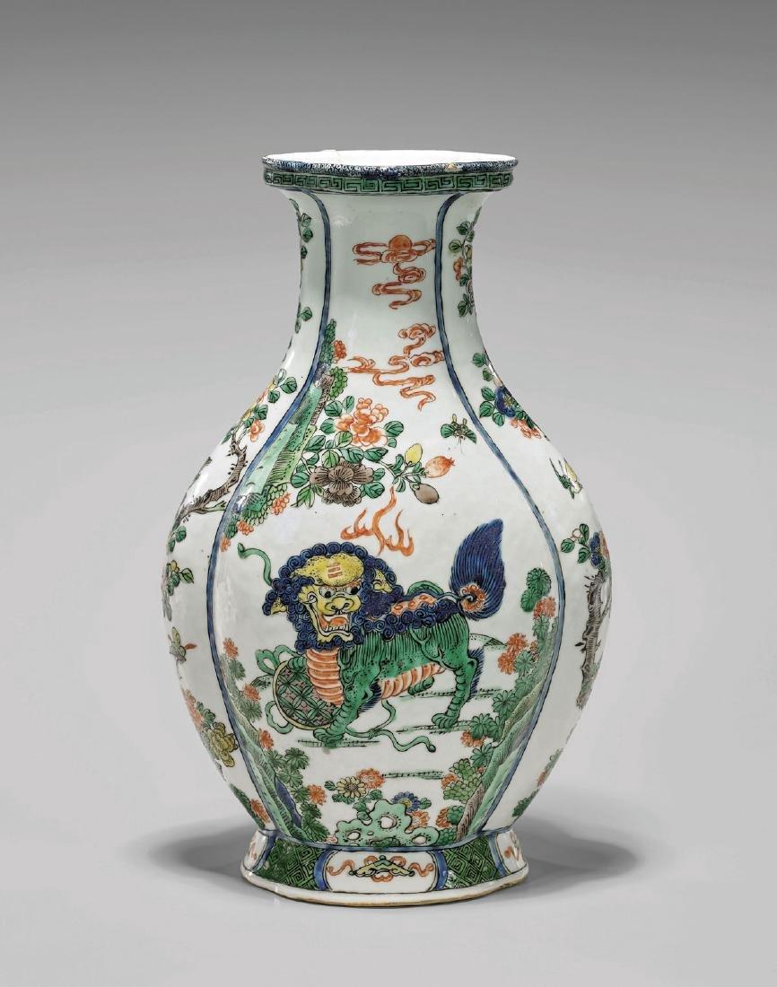 Chinese Antique Famille Verte Porcelain Vase
