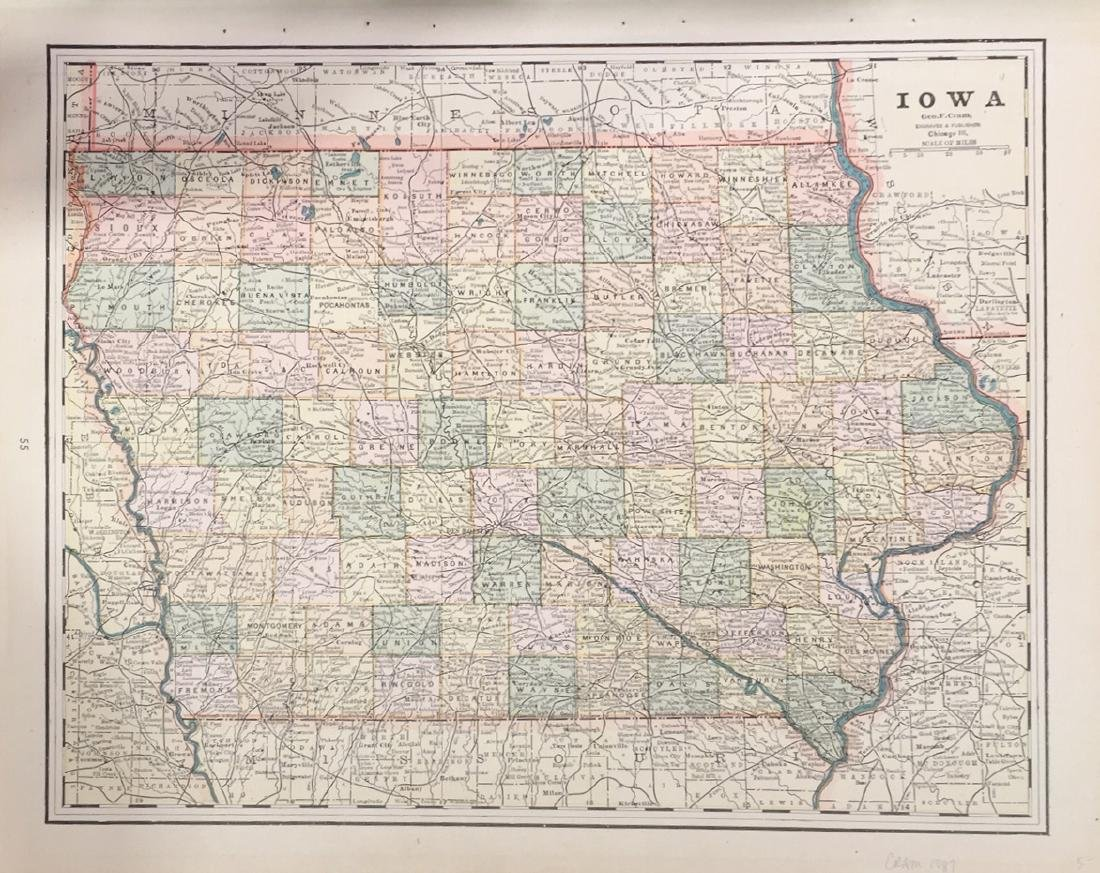 Map of Iowa by George F. Cram