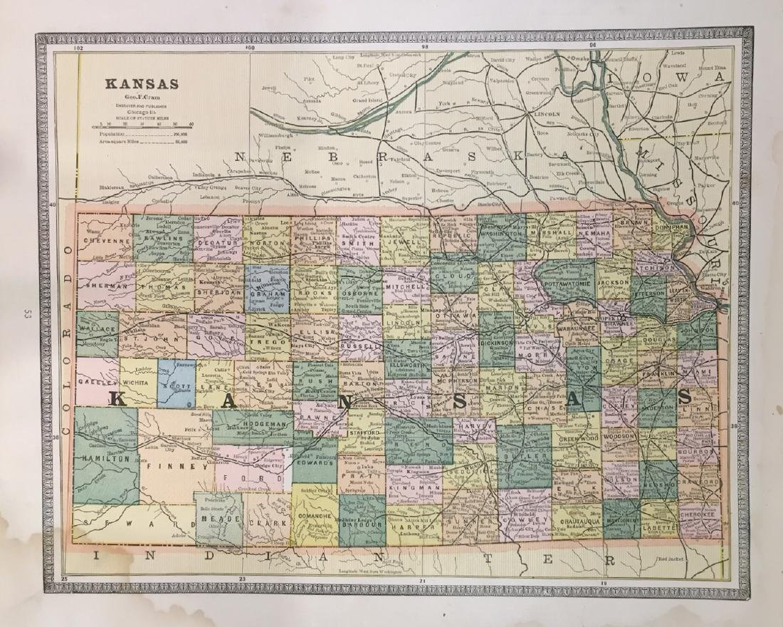 Map of Kansas by George F. Cram