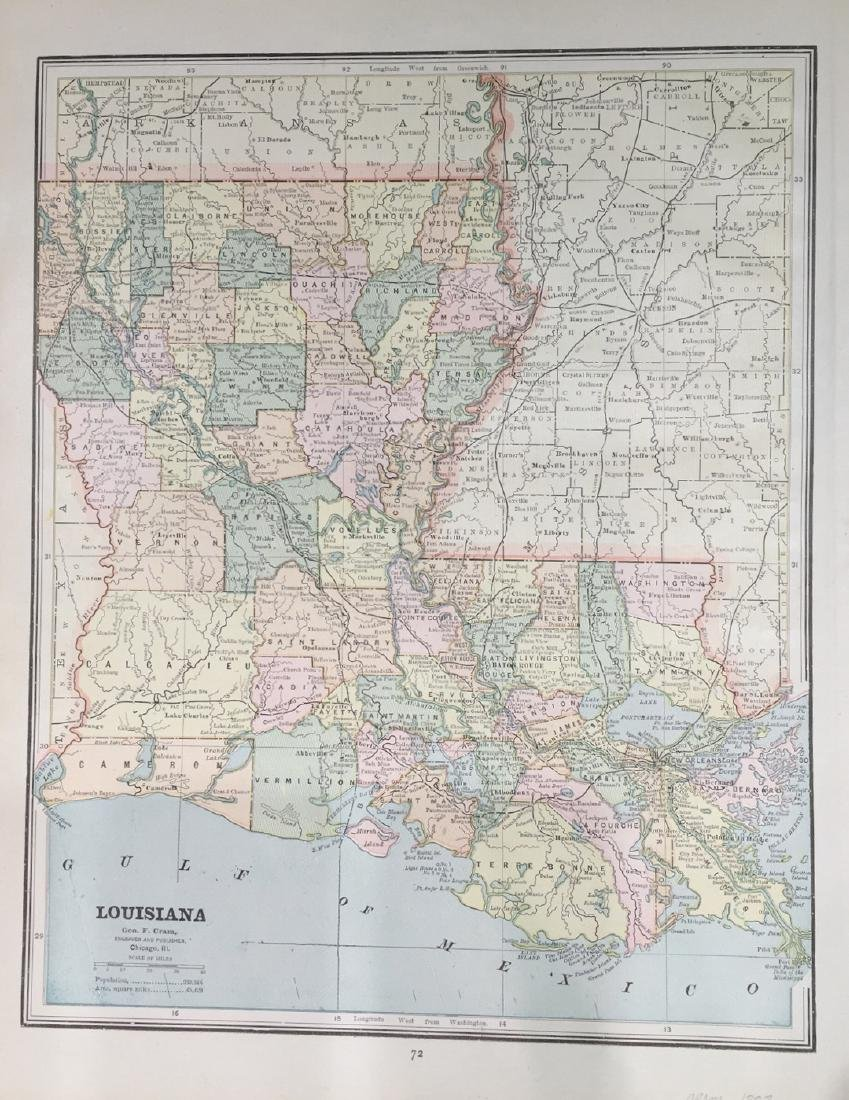 Map of Louisiana by George F. Cram