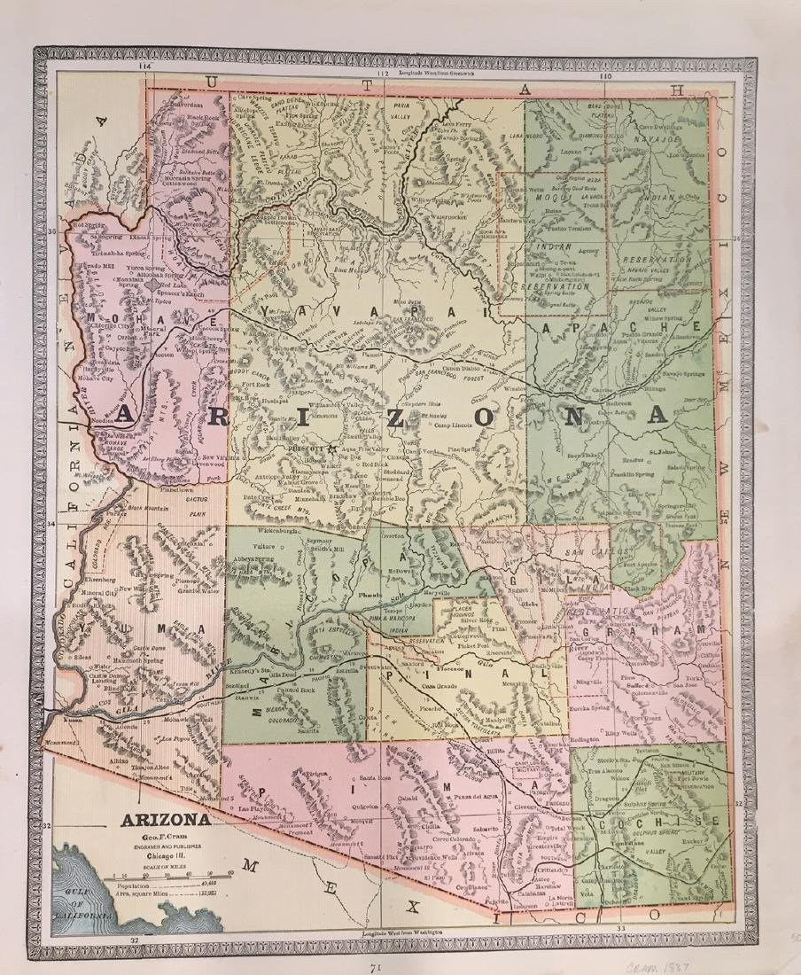 Map of Arizona by George F. Cram