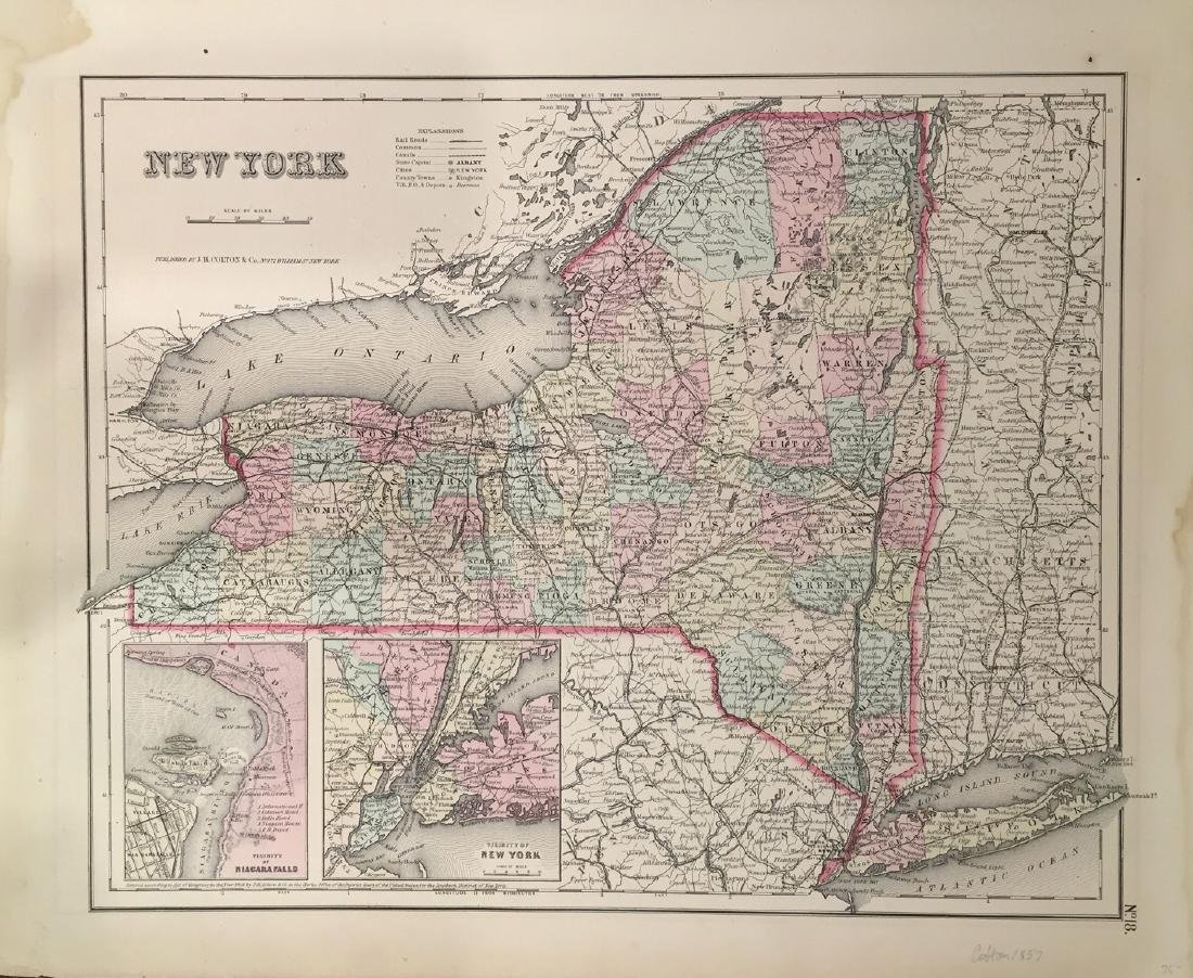 Map of New York by J. H. Colton