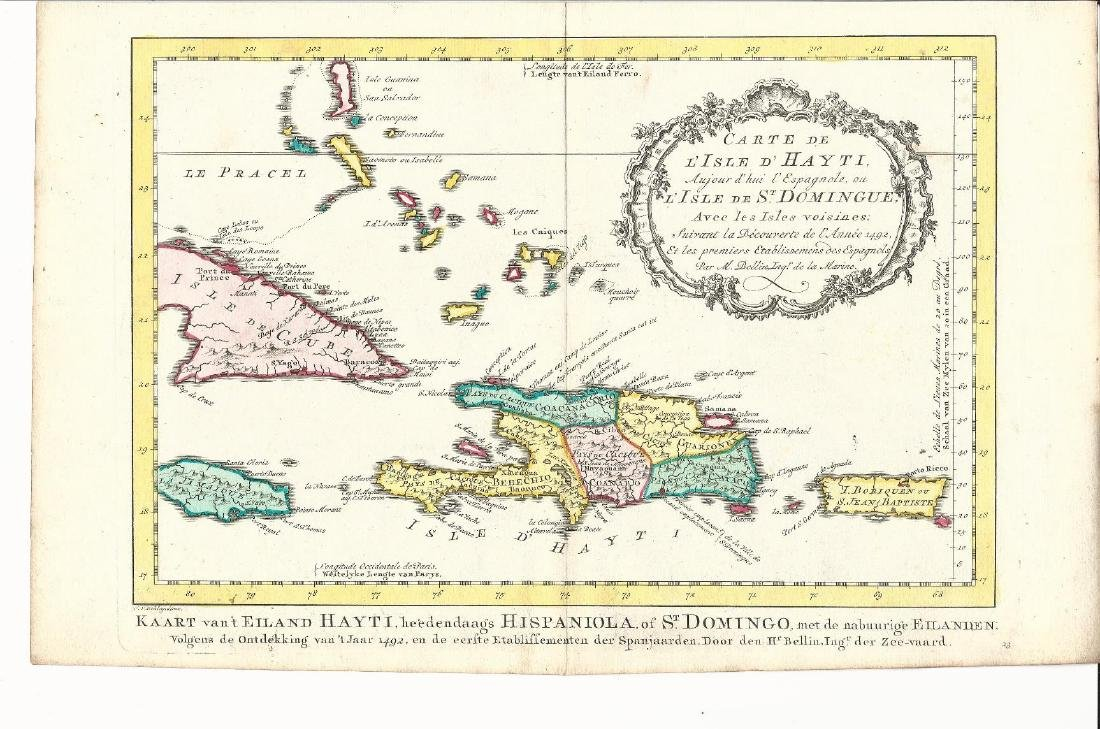 1773 Map of Haiti Domingue Bellin Van Schley