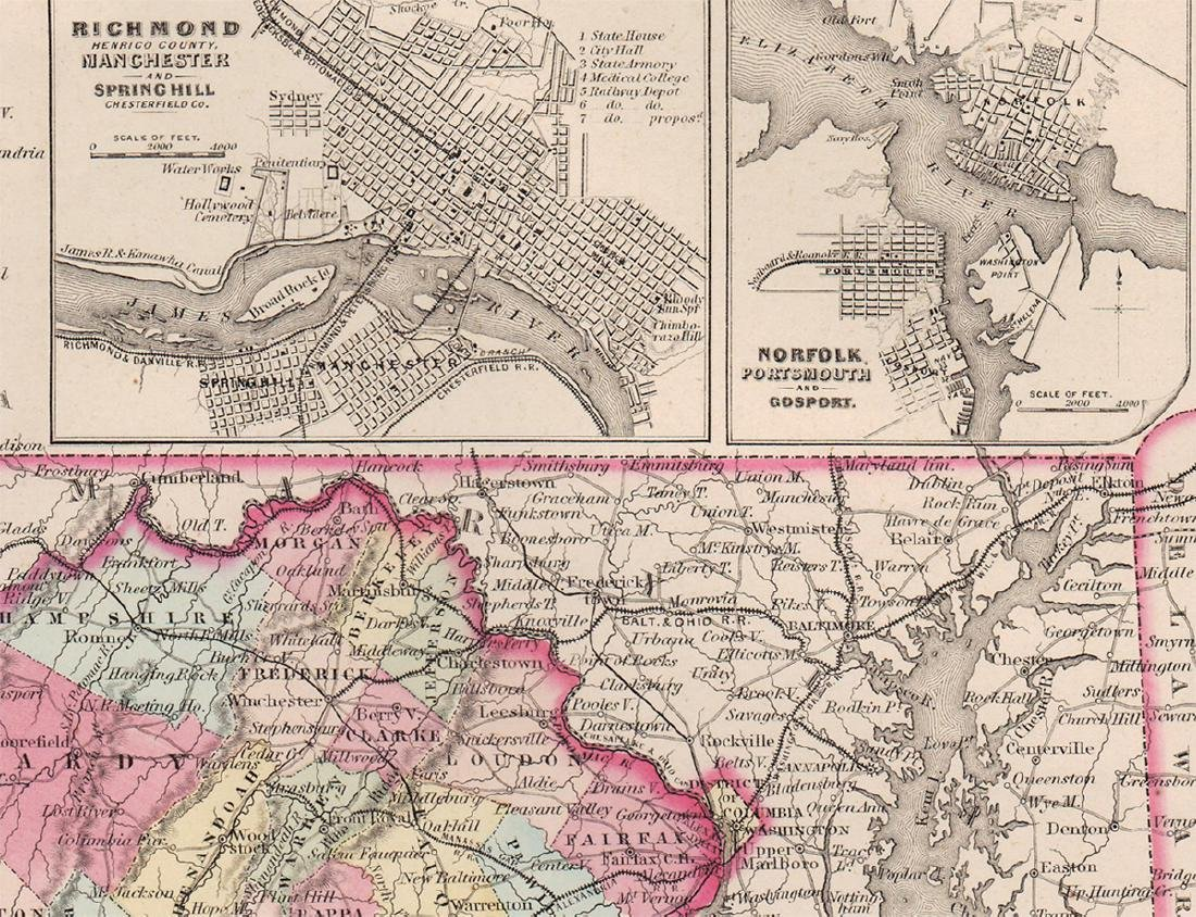 1855 map of Virginia by G. W. Colton - 3
