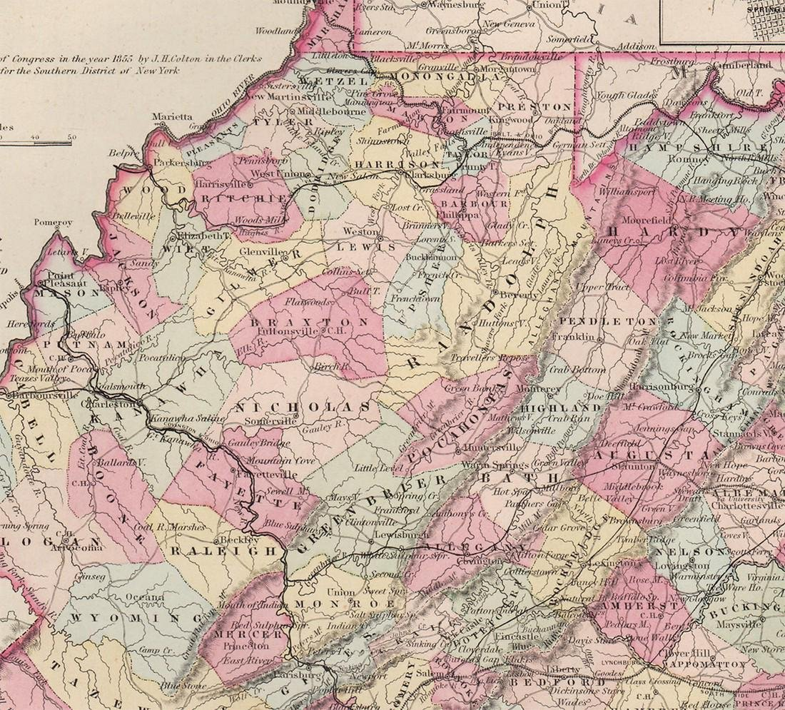 1855 map of Virginia by G. W. Colton - 4
