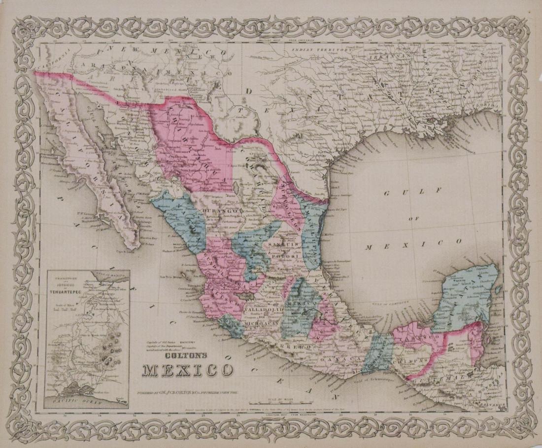1854 Colton Map of Mexico -- Mexico