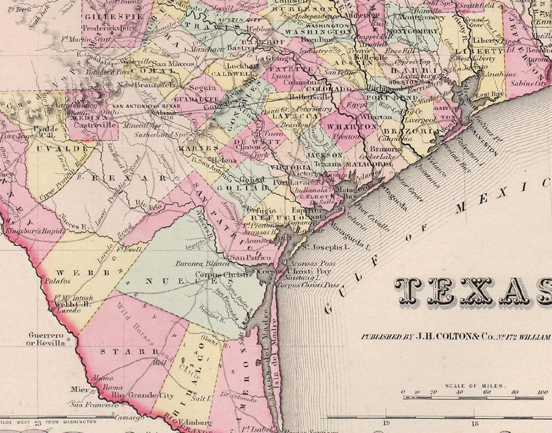 1855 1st Ed. Texas map from Colton's Atlas of the World - 3