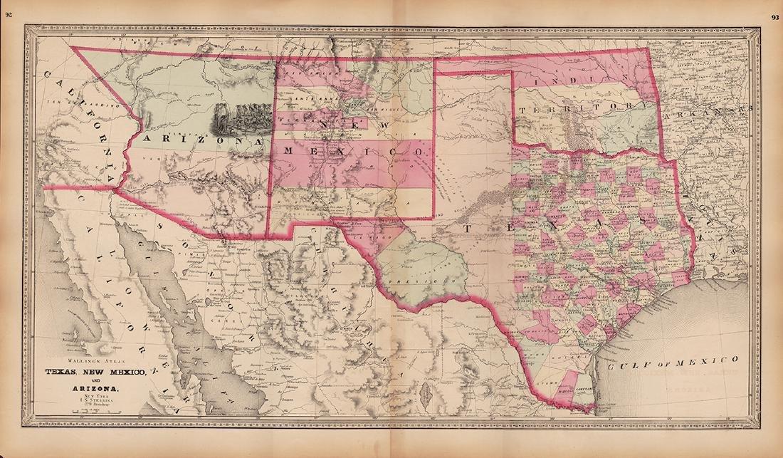 Scarce Map of Texas, New Mexico and Arizona