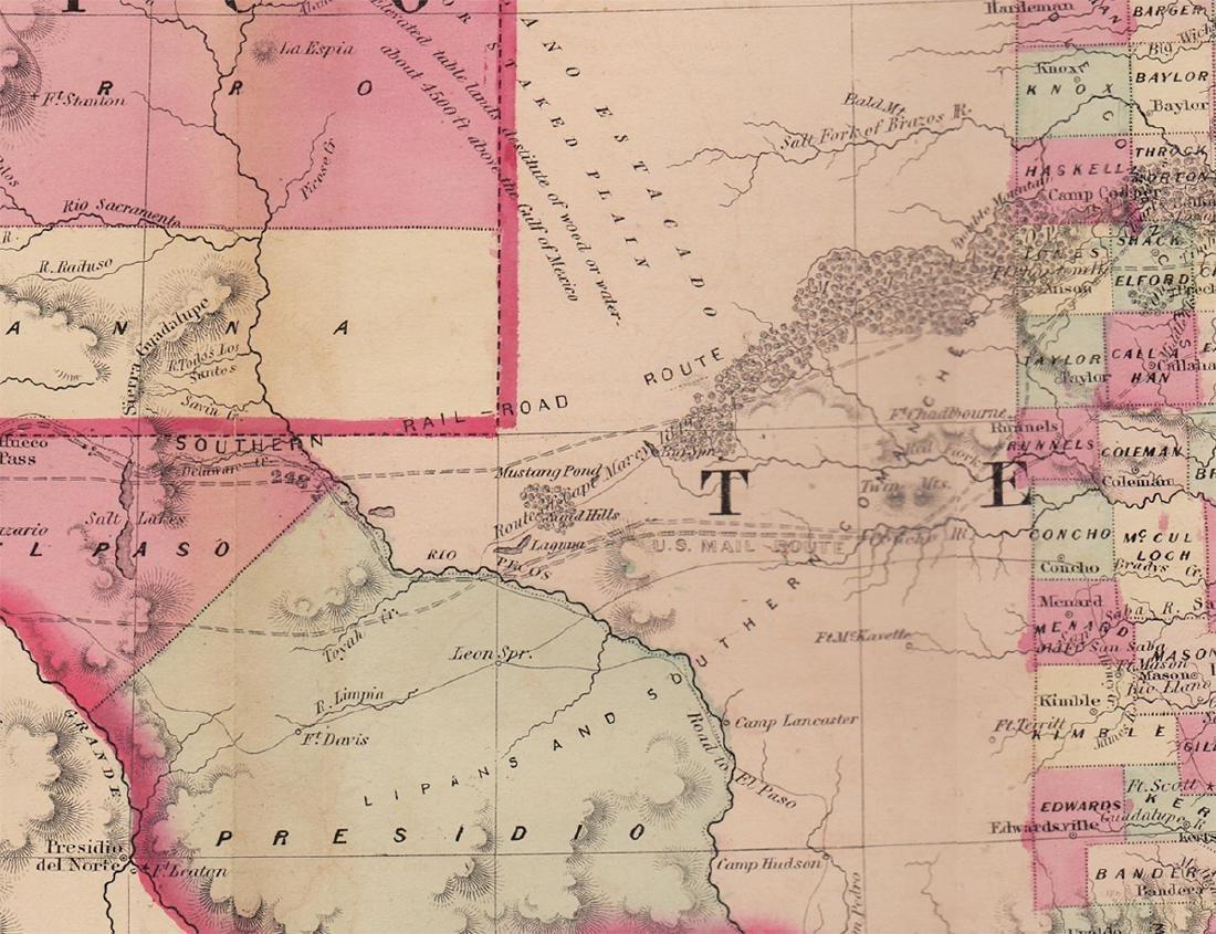 Scarce Map of Texas, New Mexico and Arizona - 3