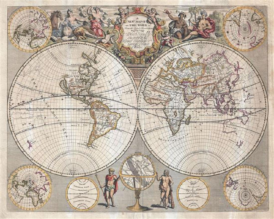 1721 John Senex Map of the World