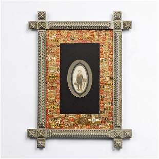 Painted Tramp Art Frame with Cigar Bands Liner