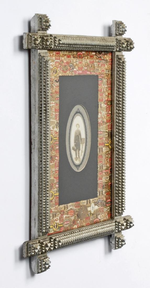 Painted Tramp Art Frame with Cigar Bands Liner - 5