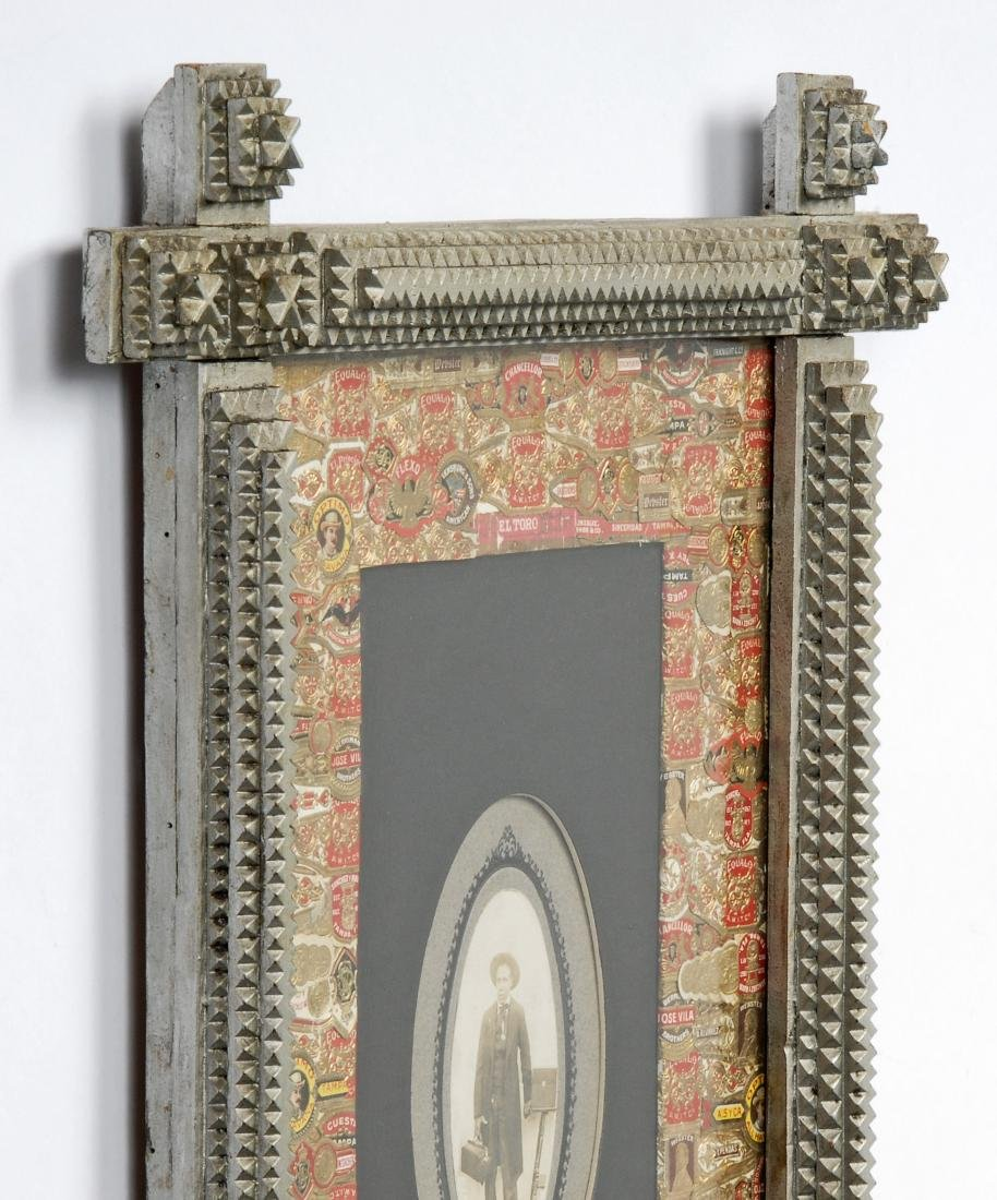 Painted Tramp Art Frame with Cigar Bands Liner - 6