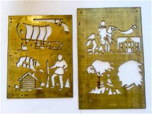 Brass Cowboy and Indian Stencil Plates