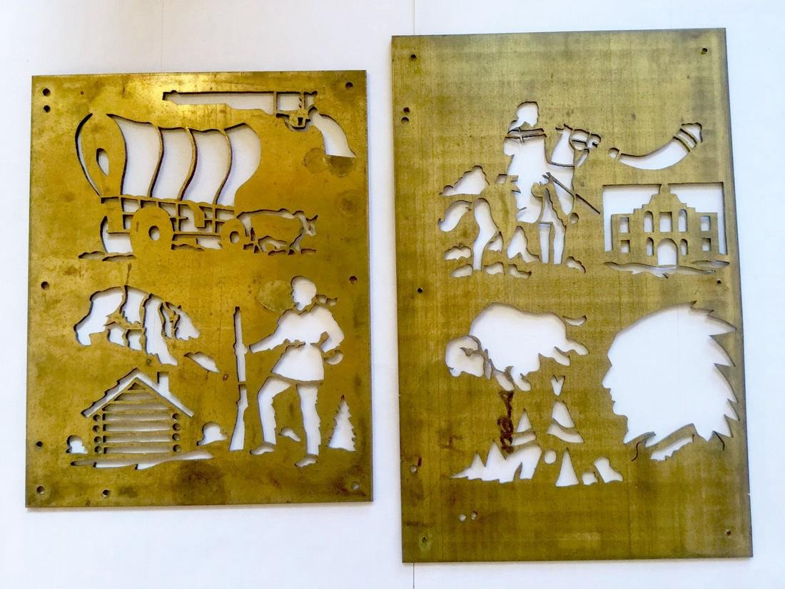 Brass Cowboy and Indian Stencil Plates - 2