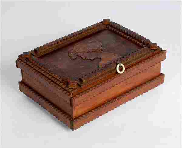 Tramp Art Box with Figural Relief Carving 1913