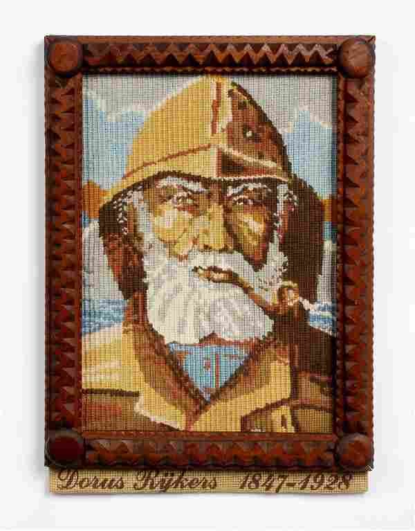 Tramp Art Frame with Nautical Needlework