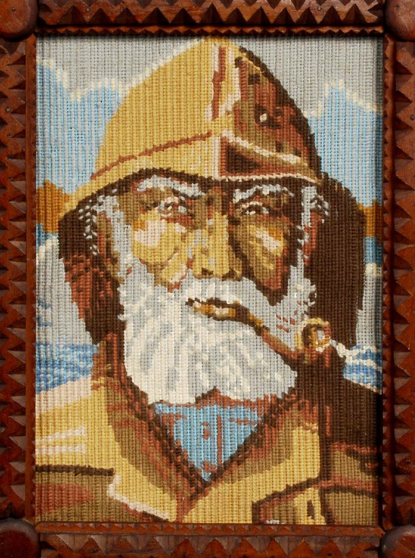 Tramp Art Frame with Nautical Needlework - 2