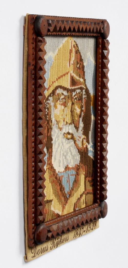 Tramp Art Frame with Nautical Needlework - 4