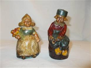 Pair Cast Iron Penny Banks