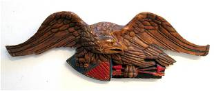 Painted & Carved Eagle Wall Plaque
