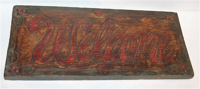 Hand Carved & Painted Welcome Sign