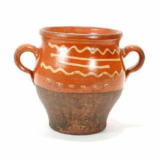 Slip Decorated Redware Pottery Jar