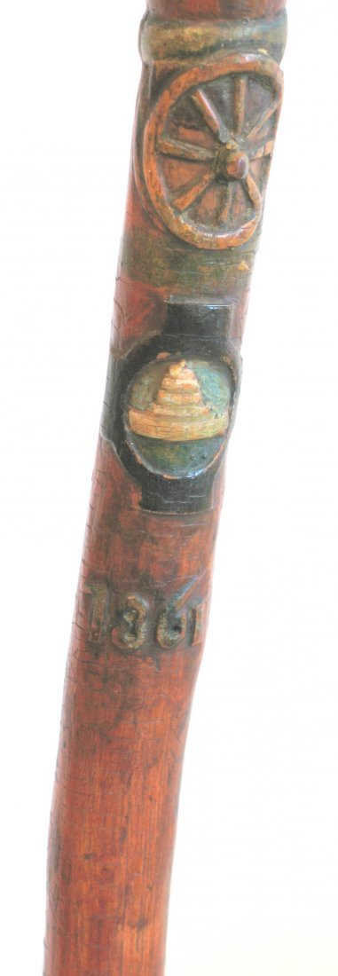 Civil War Officer's Folk Art Carved Cane - 7