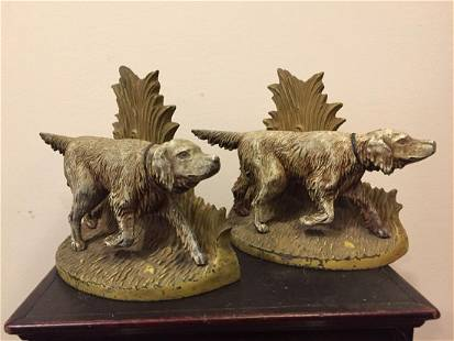 Cast Iron English Setters Bookends