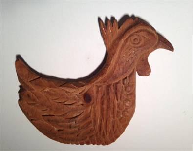 Folk Wooden Hand Carved Chicken