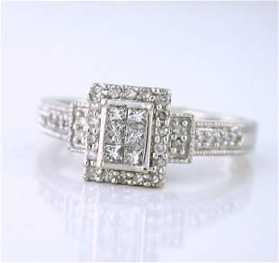Vintage 10K White Gold Princess Cut Diamond Ring