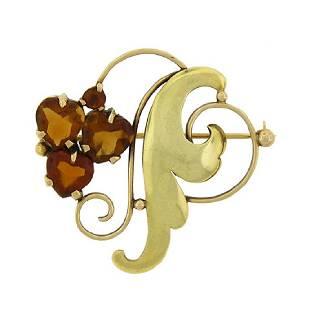 Rare Tiffany & Co 14K Gold Citrine Pin