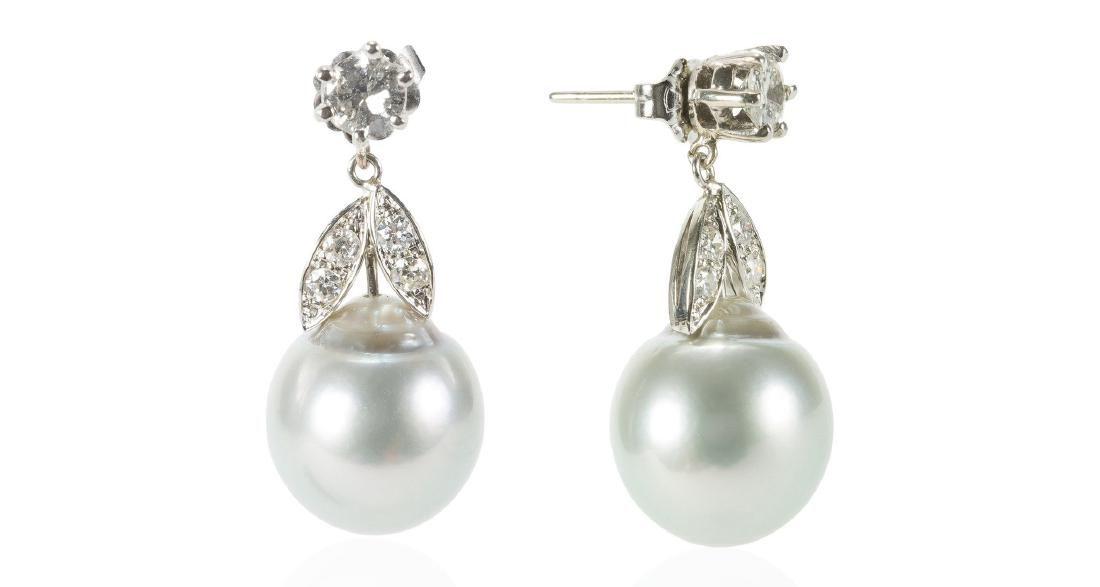 14K Gold South Sea Pearl Diamond Earrings