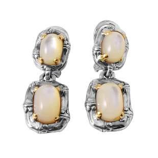 John Hardy Sterling 18K Gold Mother of Pearl Earrings